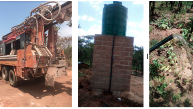 different stages of installing the borehole